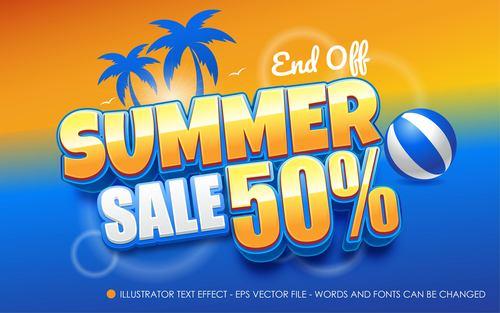 Summer sale editable font effect text vector