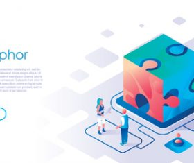 Team metaphor isometric template vector