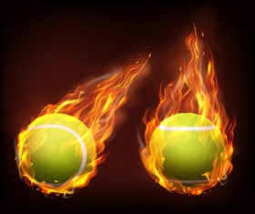 Tennis flying in fire realistic vector