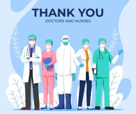 Thank you doctors and nurses vector