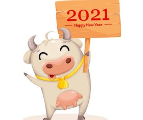 The cow holding up new years card 2021 comic vector