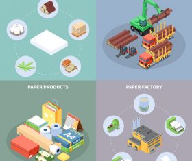 Timber Usage Isometric Illustration Vector