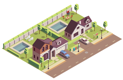 Townhouse building vector