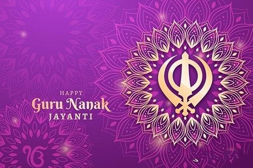 Traditional realistic guru nanak vector