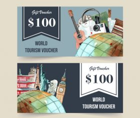 Travel coupon vector