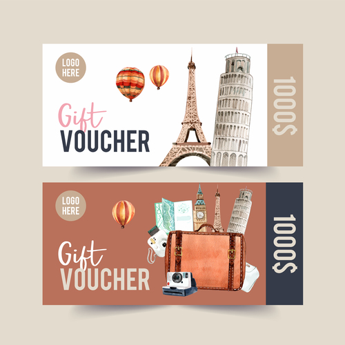 Travel coupon vector around the world