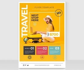 Travel sale flyer template vector
