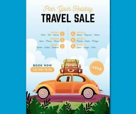 Travel sale illustrated flyer vector