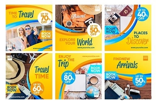 Travel sale instagram post collection vector