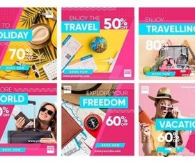 Travel sale instagram post set vector