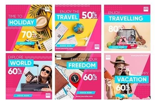 Travel sale instagram post set vector