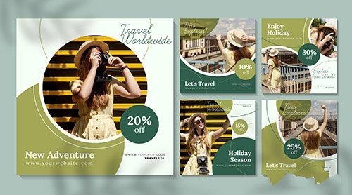Travel sale instagram posts with photo pack vector