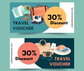 Travel voucher banner vector