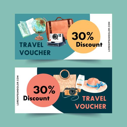 Travel voucher banner vector
