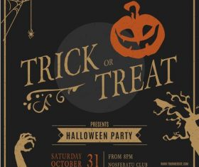 Trick or treat Halloween flyer vector
