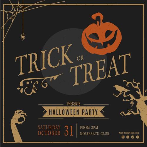 Trick or treat Halloween flyer vector