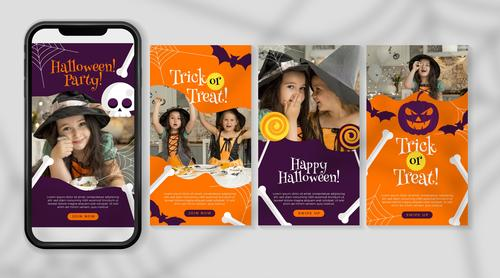 Trick or treat halloween festival instagram illustration vector
