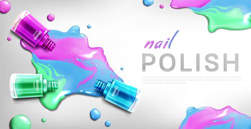Tricolor nail polish flyer vector