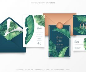 Tropical plants background wedding invitation vector