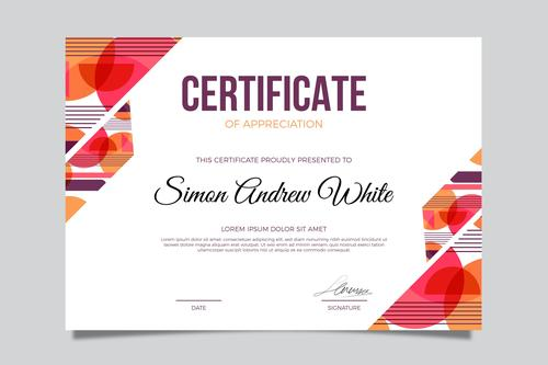 Two color background certificate template vector