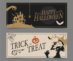 Two-color halloween flyer banner vector