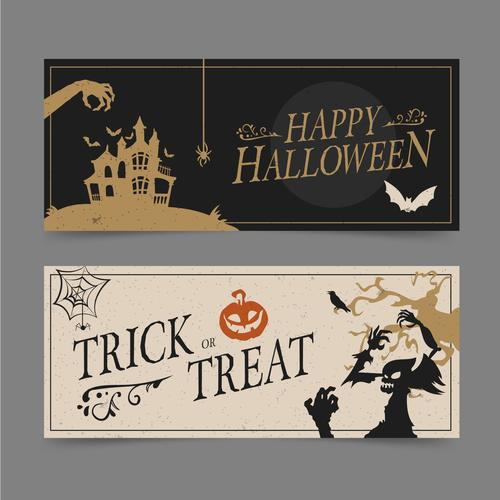 Two color halloween flyer banner vector