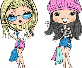 Two fashion girls comic vector