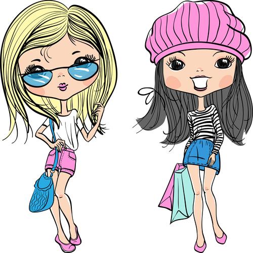 Two fashion girls comic vector