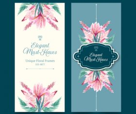 Unique flower frame banner vector