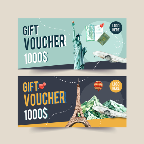 United States travel coupon vector