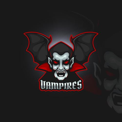 Vampire emblem gaming vector
