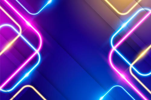 Various colorful neon background vector