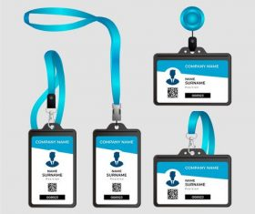 Various company ID card templates vector