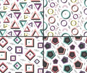 Various geometric memphis seamless background banner vector