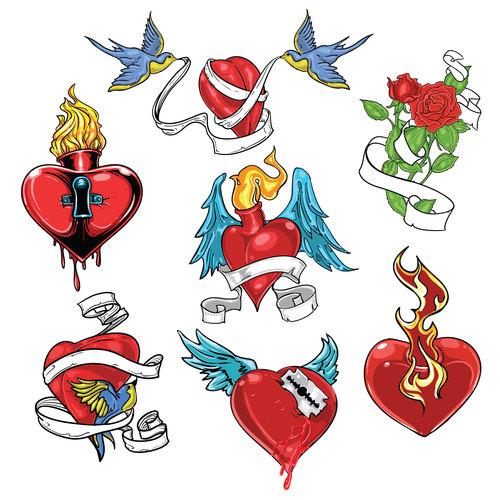 Various heart shaped tattoo logo vector