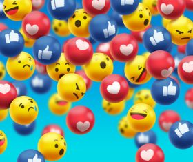 Various social emoticons background vector