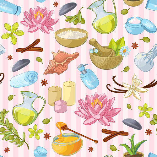 Various spa products background vector