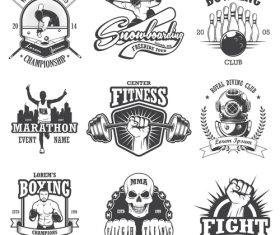 Various sports labels vector
