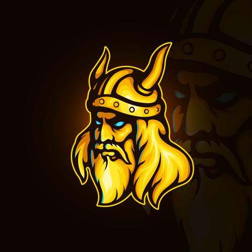 Viking Warrior emblem gaming vector