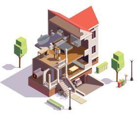 Villa 3D illustration vector