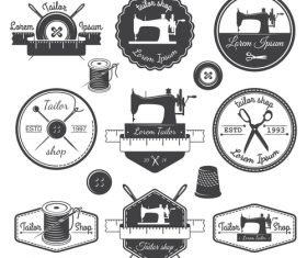 Vintage sewing machine logos vector