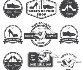 Vintage shoe repair shop logo vector