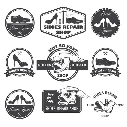 Vintage shoe repair shop logo vector