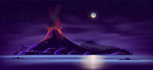 Volcano background vector