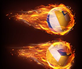 Volleyball flying in fire realistic vector