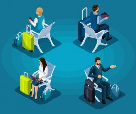 Waiting for boarding cartoon vector
