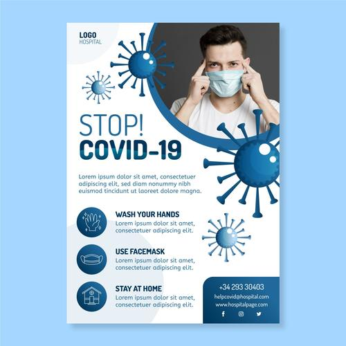 Wash your hands COVID 19 flyer vector