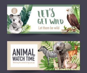 Watercolor animal poster banner vector