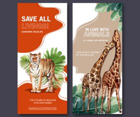 Watercolor animals flyer design vector
