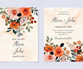 Watercolor flower cover wedding invitation vector
